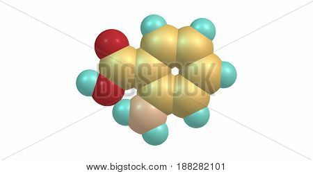 Anthranilic acid is an aromatic acid with the formula C6H4NH2CO2H. The molecule consists of a substituted benzene ring hence is classed as aromatic. 3d illustration