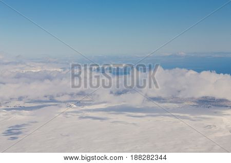 Top view and skyline Iceland winter season natural landscape background