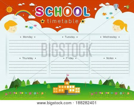 background frame design of School Timetable ScheduleWeekly school timetable vector illustration