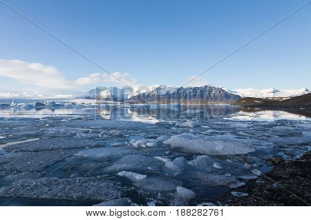 Iceland winter Jakulsarlon lagoon with clear blue sky background natural landscape