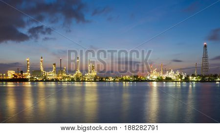 Night view panorama refinery light river front