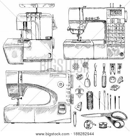 Tailor Shop Hand Drawn Equipment Set with sewing-machine