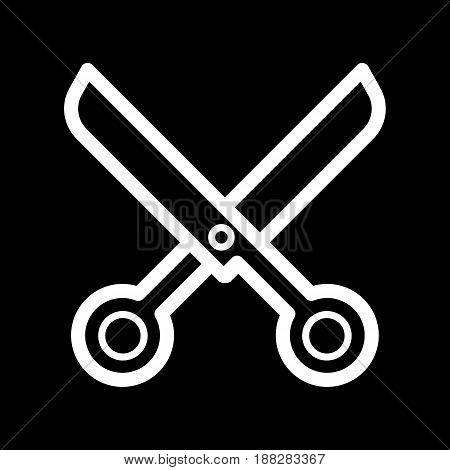 scissors vector icon. White scissors illustration on black background. Outline linear beauty icon. eps 10