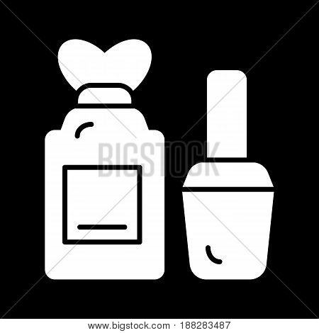 nail care bottles vector icon. White illustration on black background. Solid linear beauty icon. eps 10