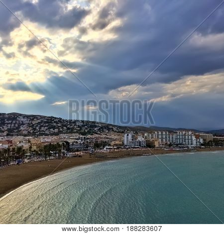 Beautiful sky over the town of Peniscola. Resort in the province of Castellon Valencian Community Spain.
