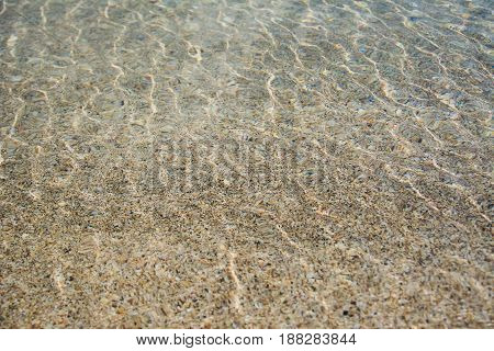Photo of transparent water on a sandy beach