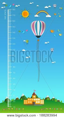children height meterl. hot air balloon clouds and birds meter from 10 to 180 centimeterVector illustrations