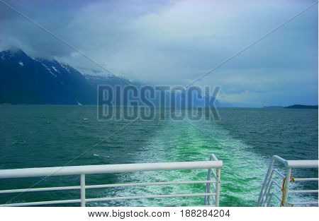 Ferry ride from Juneau to Skagway Alaska.