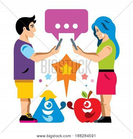 Boy and girl playing on the phone. Fight characters. Isolated on a white background