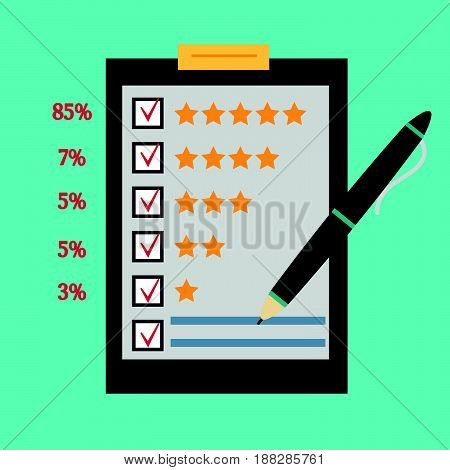 Questionnaire customer feedback statistics in percent. Concept illustration of customer testimonials business vote and feedback reviews and support rating. Technology and methods of voting.