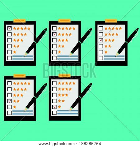 Questionnaire customer feedback statistics set. Concept illustration of customer testimonials business vote and feedback reviews and support rating. Technology and methods of voting.