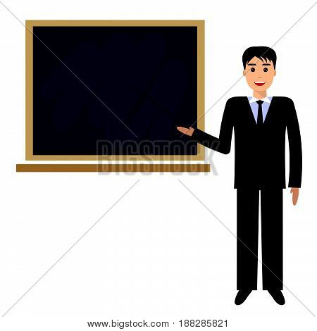 Teacher with pointer showing on board. Young male teacher professor standing in front of blackboard teaching student in classroom at school college or university.