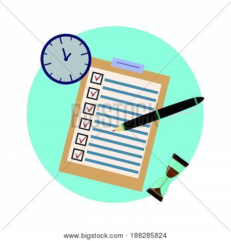 School exam test results.Education flat icon set for flyer poster web site like test pen clock and hourglass.