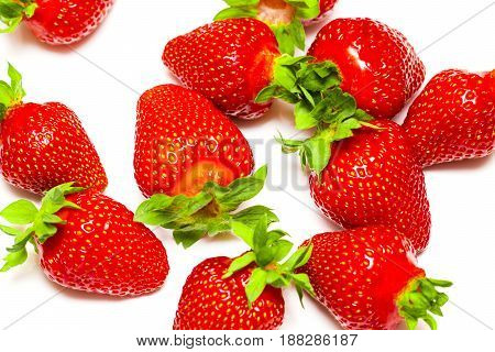 A Set Of Fresh Strawberry Isolated On White Background