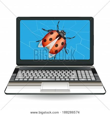 Broken laptop computer, destroyed by a bug