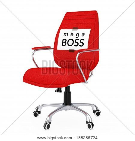 Paper Sheet with Mega Boss Message over Black Leather Boss Office Chair on a white backgroundl. 3d Rendering.