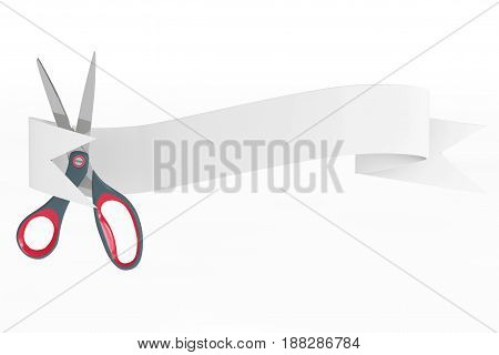 Scissors with Ribbon Banner on a white background. 3d Rendering.