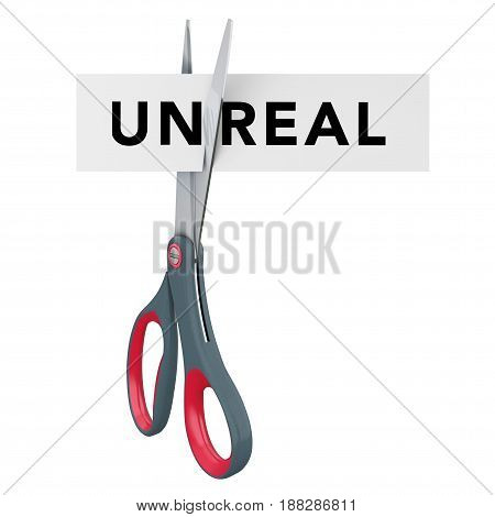 Cutting Unreal to Real Paper Sign with Scissors on a white background. 3d Rendering.