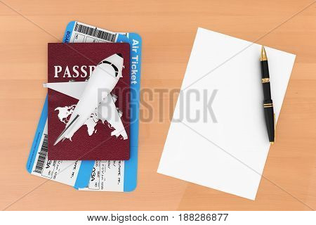 AIr Travel Concept. Airplane Passport Tickets Blank Paper and Pen on a wooden table. 3d Rendering.