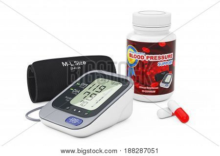 Plastic Bottle with Blood Pressure Support Pills and Digital Blood Pressure Monitor with Cuff on a white background. 3d Rendering.