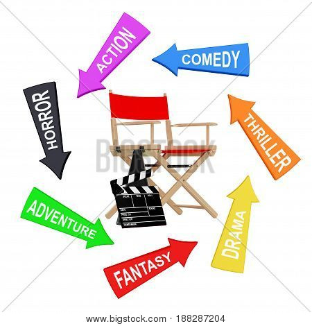 Arrows with Cinema Styles around Director Chair Movie Clapper and Megaphone on a white background. 3d Rendering.