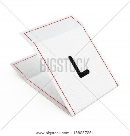 Fabric Dress Tag with L Size Sign on a white background. 3d Rendering.