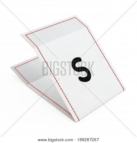 Fabric Dress Tag with Small Size Sign on a white background. 3d Rendering.