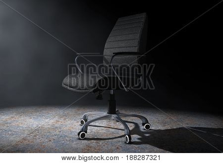 Black Leather Boss Office Chair in the Volumetric Light on a black background. 3d Rendering.