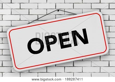 Open Door Sign Hanging on Rope in front of brick wall. 3d Rendering.