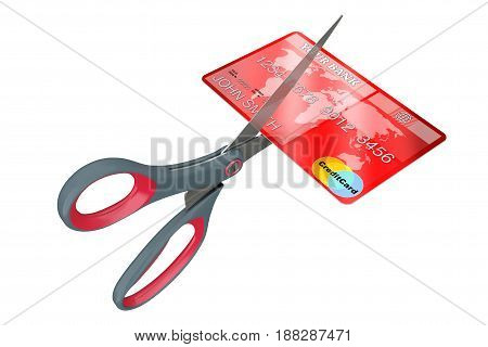 Scissors Cutting Credit Card on a white background. 3d Rendering.