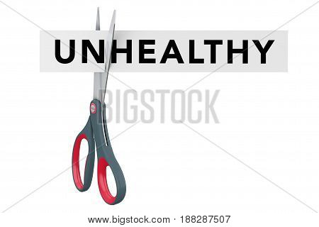 Cutting Unheathy to Healthy Paper Sign with Scissors on a white background. 3d Rendering.