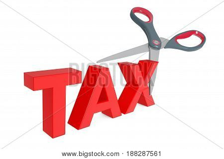 Cutting Tax Sign with Scissors on a white background. 3d Rendering.