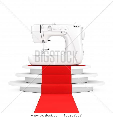 Modern White Sewing Machine over Round White Pedestal with Steps and a Red Carpet on a white background. 3d Rendering.
