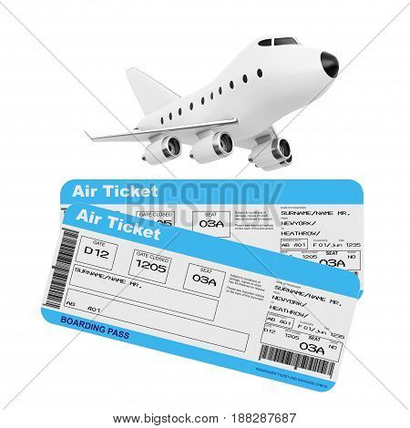 Air Travel Concept. Cartoon Toy Jet Airplane with Airline Boarding Pass Tickets on a white background. 3d Rendering.