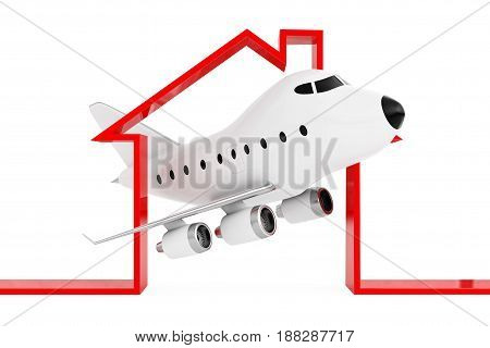 Cartoon Toy Jet Airplane in Abstract Airport or Hangar Building Shape on a white background. 3d Rendering.