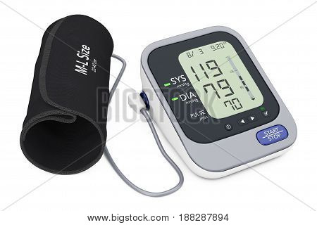Digital Blood Pressure Monitor with Cuff on a white background. 3d Rendering.