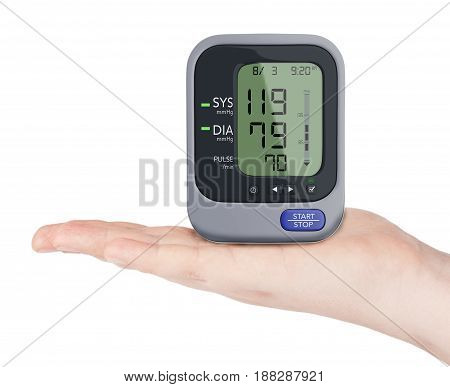 Digital Blood Pressure Monitor over Hand on a white background. 3d Rendering.