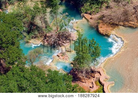 Pools at the bottom of the world famous Havasu Falls in Arizona