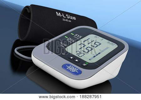 Digital Blood Pressure Monitor with Cuff on a blue background. 3d Rendering.