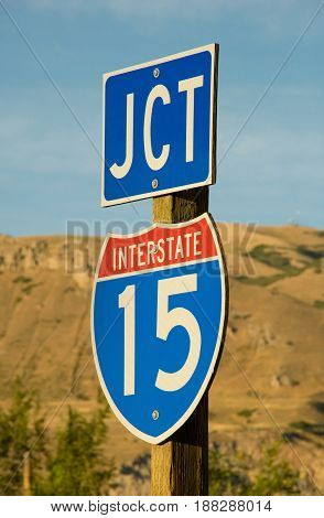 Junction sign for I-15 the main freeway that travels north/south through California Nevada Utah Idaho and Montana