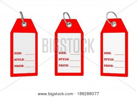 Dress Tags with Size Style and Price Sign with Blank Space for Your Text on a white background. 3d Rendering.