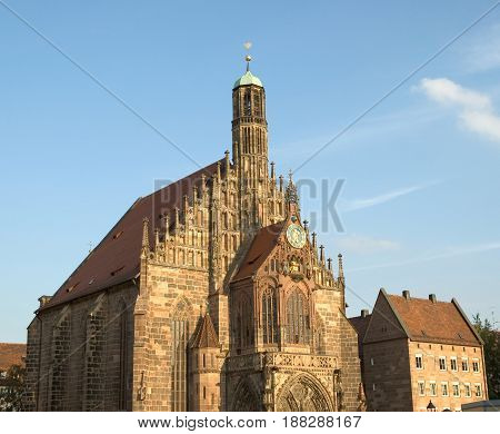 Church of Our Lady in Nuremberg Germany. this marvelous Church is in the middle of the main Market Square and is actively used for worship services.