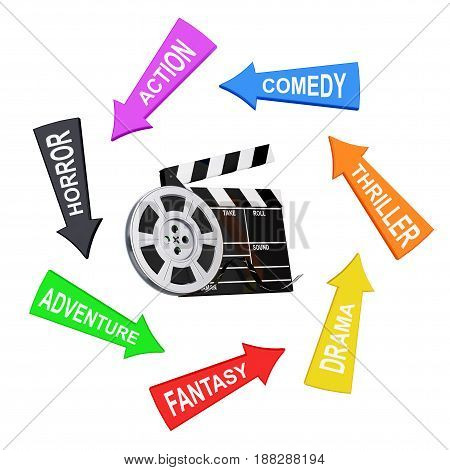 Arrows with Cinema Styles around Film Reel with Cinema Tape near Clapboard on a white background. 3d Rendering.