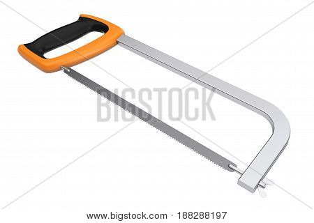Extreme Closeup Hacksaw on a white background. 3d Rendering.