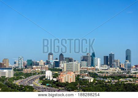 Dallas Texas Downtown Skyline and Cityscape against a Clear Blue Sky