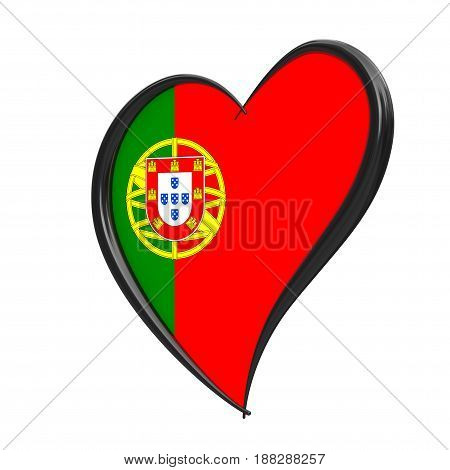 Portugal Flag Inside Heart. Eurovision Song Contest 2018 in Portugal on a white background. 3d Rendering