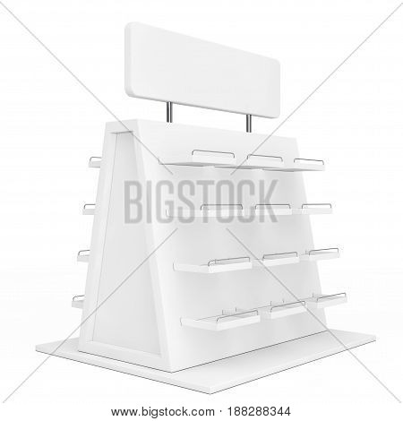 White Exhibition Promotion Showcase on a white background. 3d Rendering.