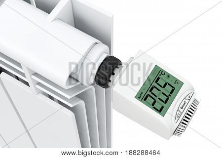 Digital Wireless Radiator Thermostatic Valve connected to Radiator on a white background. 3d Rendering.