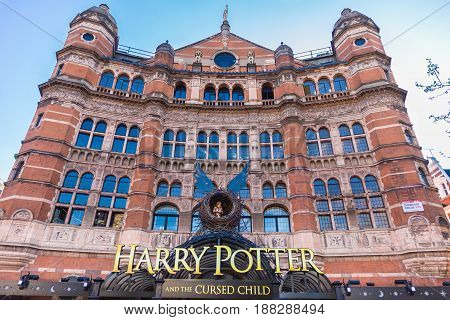 London England - 9 April 2017 - Harry Potter And The Cursed Child theatre sign displays in front of the theater bulding in London England on April 9 2017