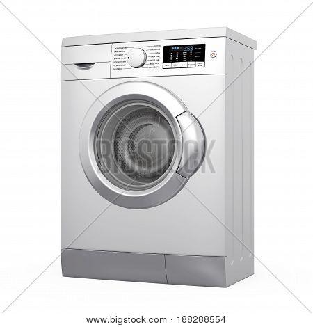 Modern Metalic Washing Machine on a white background. 3d Rendering.